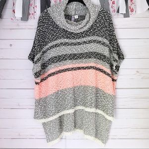 Alya Cowl Neck Poncho Style Woven Sweater Top